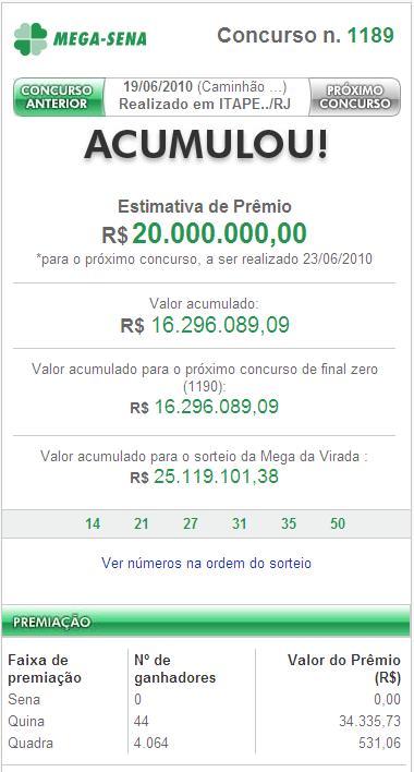 Mega-Sena acumula e prêmio pode chegar a R$ 20 milhões