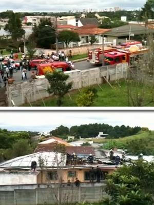 Bombeiros trabalham no local do acidente, em