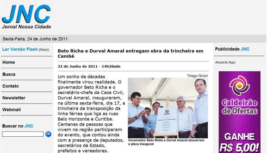 Jornal Nossa Cidade esquece prefeito João Pavinato