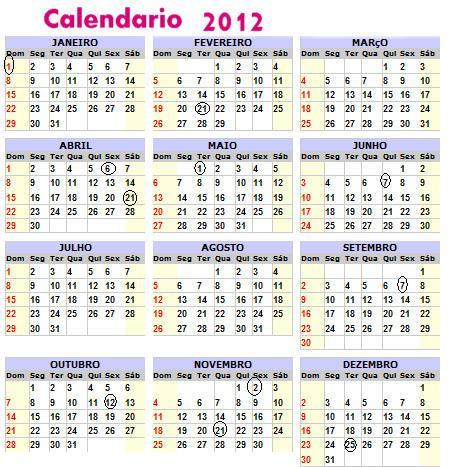 Governo divulga dias de feriado nacional e ponto facultativo em 2012