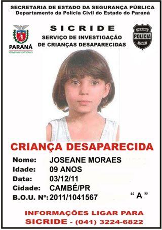 Menina de Cambé continua desaparecida e caso segue sem pistas após um mês