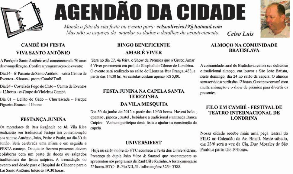 Agendão da Cidade – Celso Luis