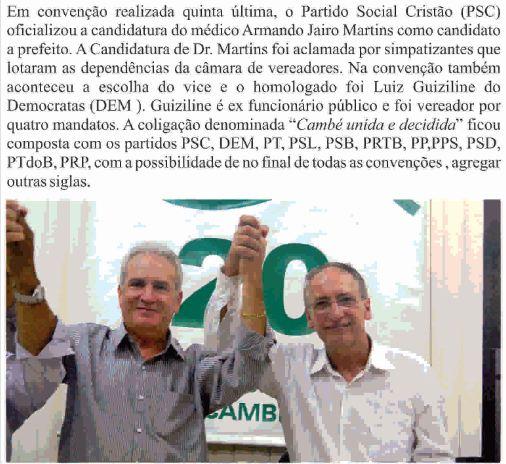 Oficializada candidatura de Dr. Martins em Cambé