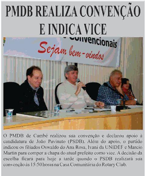 PMDB realiza convenção e indica Vice