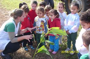 Alunos plantam árvores e aprendem sobre o mundo