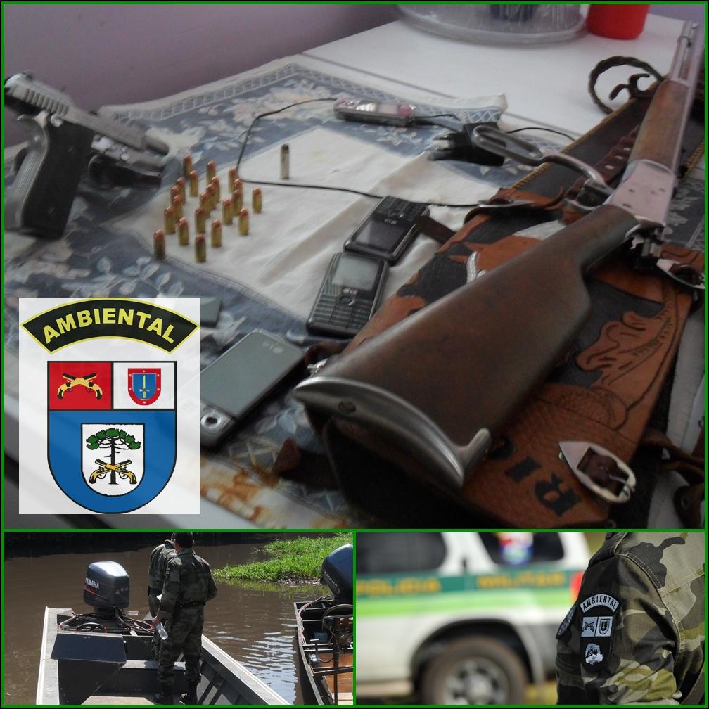 EM AÇÃO CONJUNTA POLICIA CIVIL E POLÍCIA MILITAR AMBIENTAL LOCALIZAM TRES ARMAS DE FOGO E PRENDEM DOIS SUSPEITOS DE LATROCINIO NO RIO PARANA