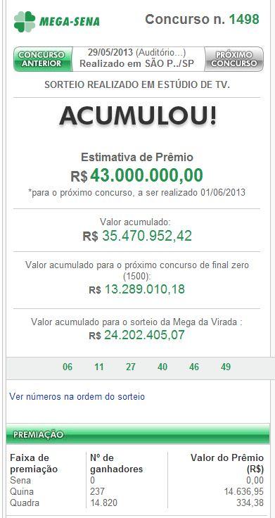 Confira o resultado da Mega-Sena concurso 1498 do dia 29/05/2013