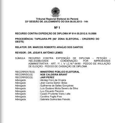 TRE adia julgamento de processo contra prefeito de Cambé