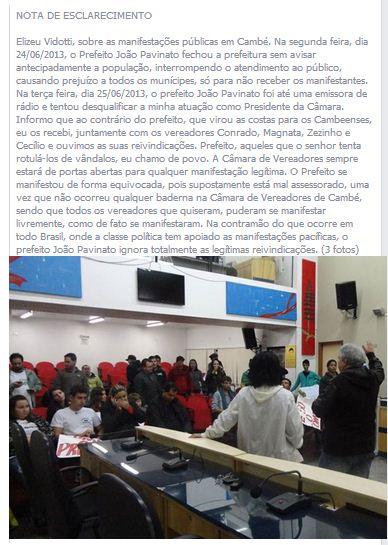 Do Facebook: NOTA DE ESCLARECIMENTO