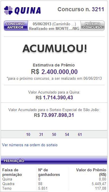 Loteria: Quina pode pagar hoje R$ 2.400.000,00