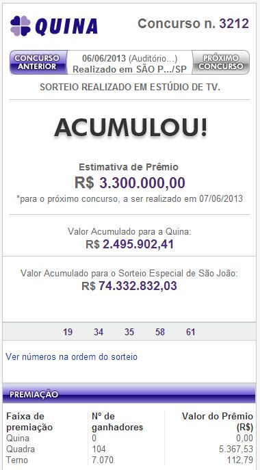 Confira o resultado da Quina concurso 3212 de 06 de Junho de 2013