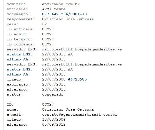 Site da APMI de Cambé esta fora do ar por falta de Pagamento
