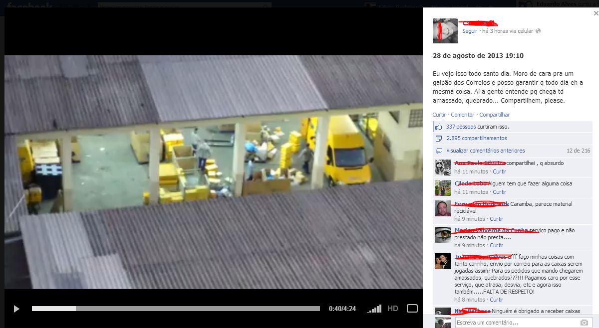 """Vídeo divulgado no Facebook mostra funcionários do Correio """"Basqueteando"""" caixas do Sedex"""