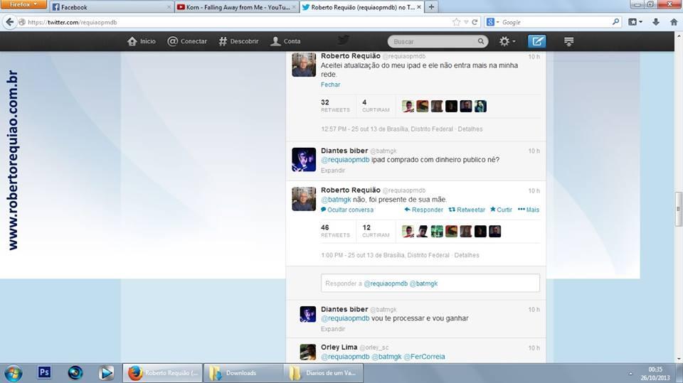 Pelo Twitter Senador Roberto Requião bata boca com internauta