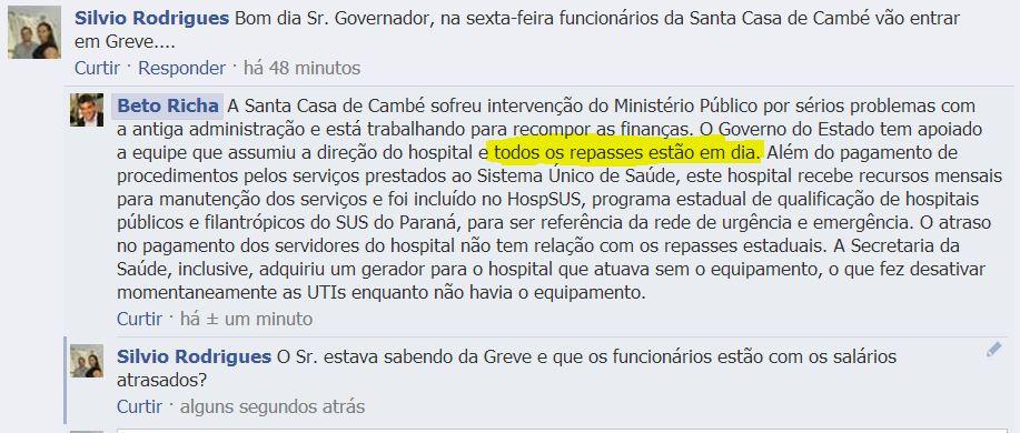 Governador Beto Richa diz que repasses para Santa Casa de Cambé estão em dia.