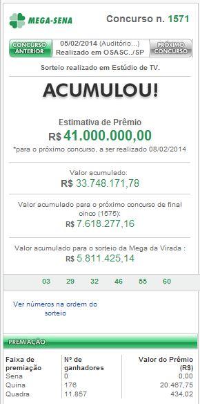 Confira o resultado da Mega-Sena do dia 05/02/2014
