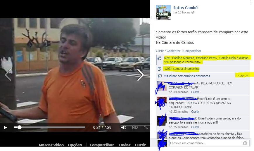 """Protesto do """"Boca Aberta"""" atinge mais de 130 mil acessos em Cambé"""