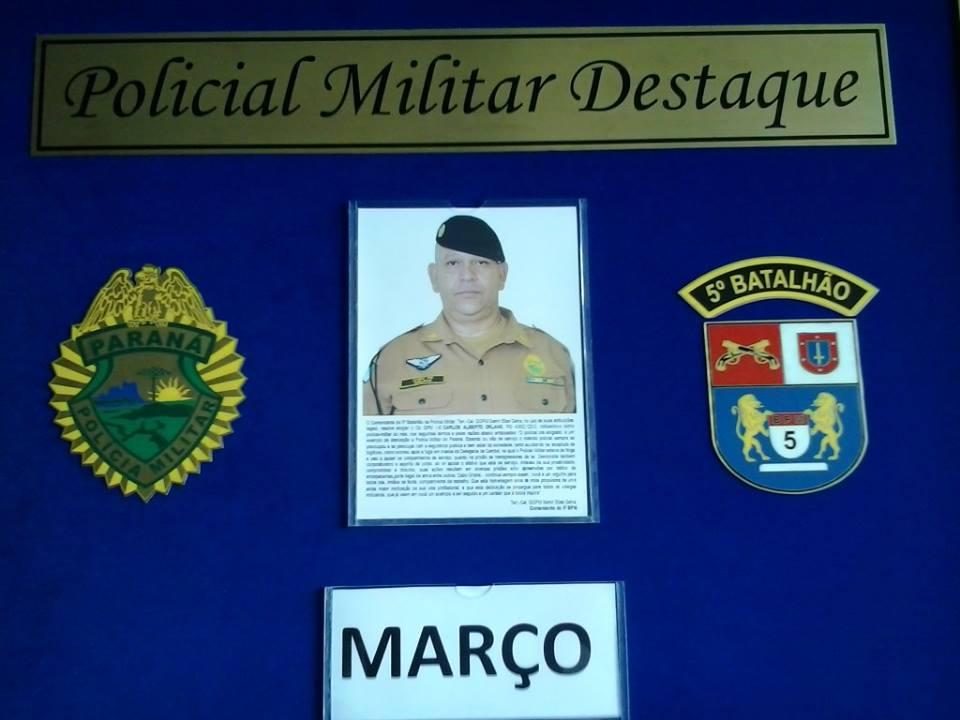 CABO ORLANS, HOMENAGEADO O POLICIAL DO MÊS DE MARÇO DO 5º BPM