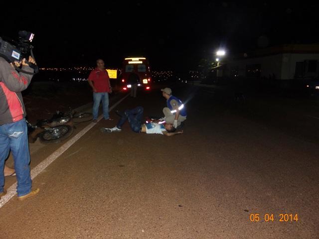 Motociclista fica ferido em acidente na PR 445 em Cambé