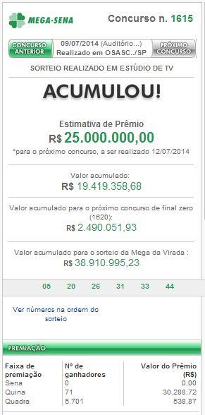 Confira o resultado da Mega-Sena concurso 1616 de 12/07/2014