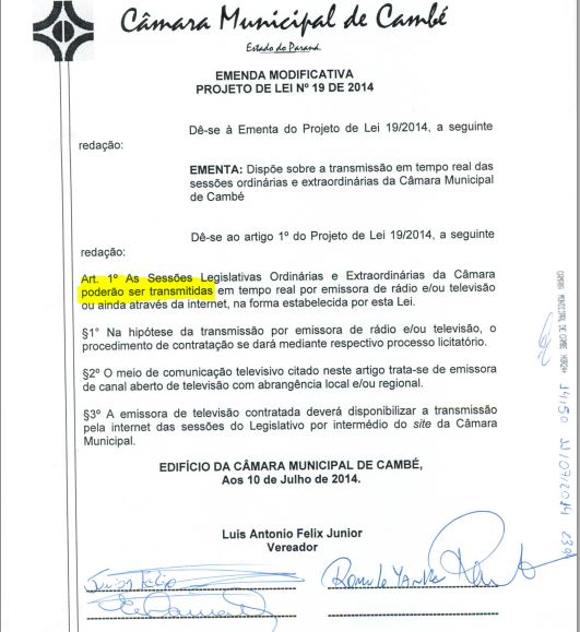 Comentários Bêne Filho – RTV Canal 36 – Inverdades do Jornal Folha de Cambé