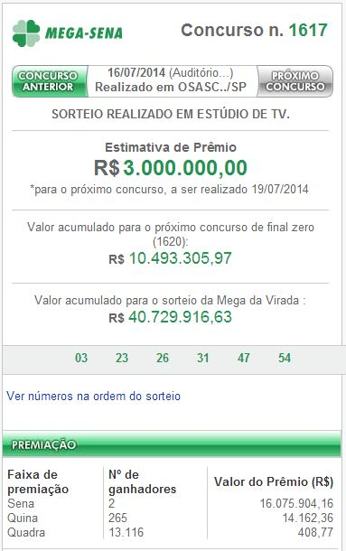 Confira o resultado da Mega-Sena concurso 1617 de 16/07/2014
