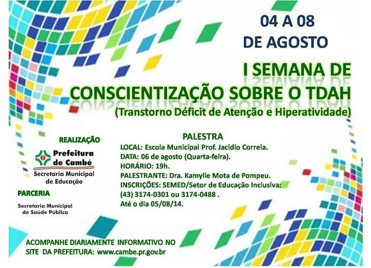 Secretaria Municipal de Educação promove a I Semana de Conscientização Sobre o TDAH