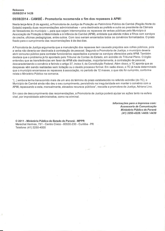 Vídeo: Ministério Publico do Paraná pede o fim de repasses de verbas publicas a APMI