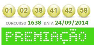 Confira o resultado da Mega-Sena concurso 1638 de 24/09/2014