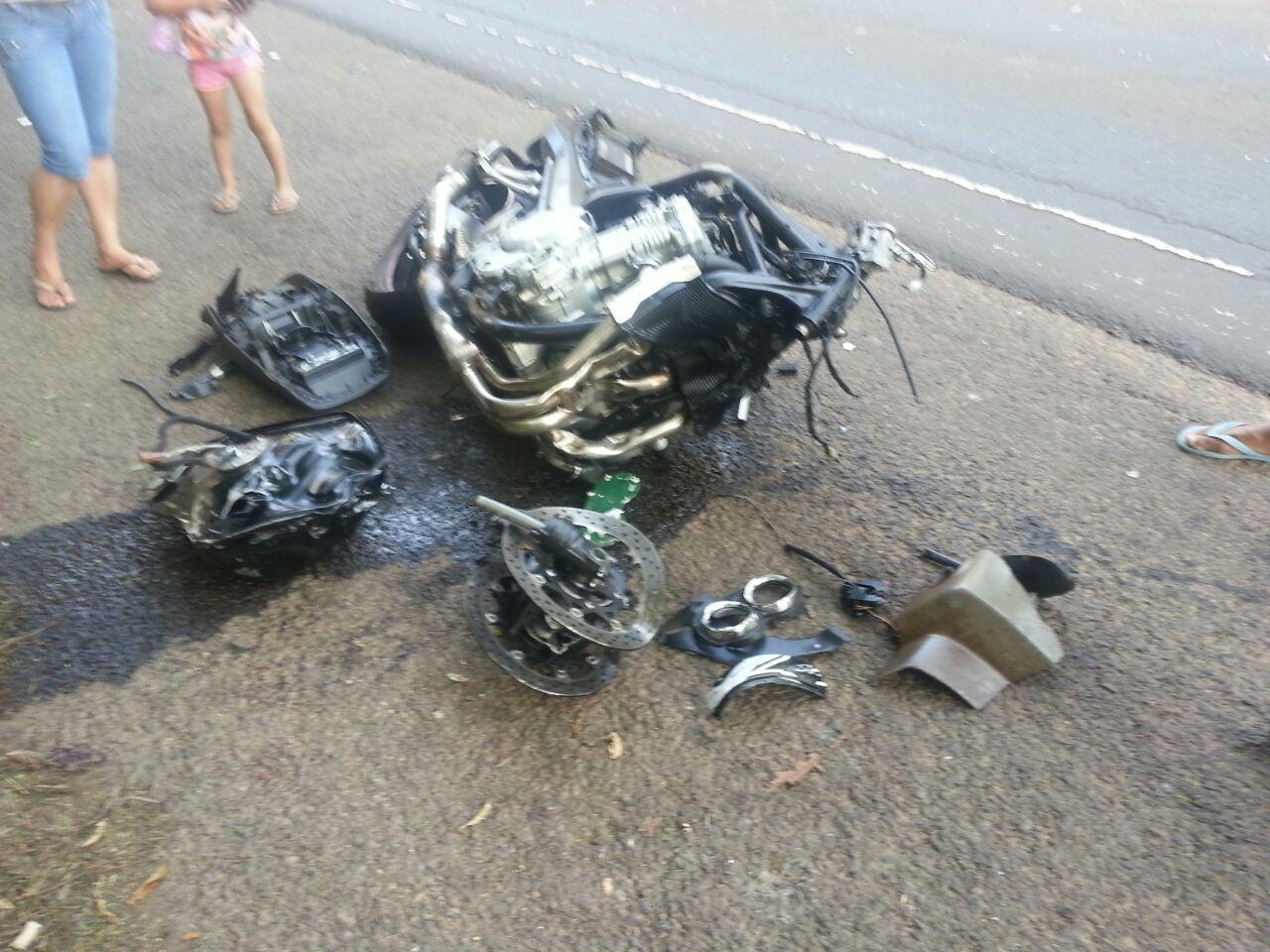 Motociclista de Cambé sofre acidente na PR 445 no Jardim Novo Bandeirantes