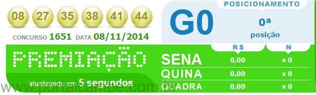 Confira o resultado da Mega-Sena concurso 1661 de 08/11/2014