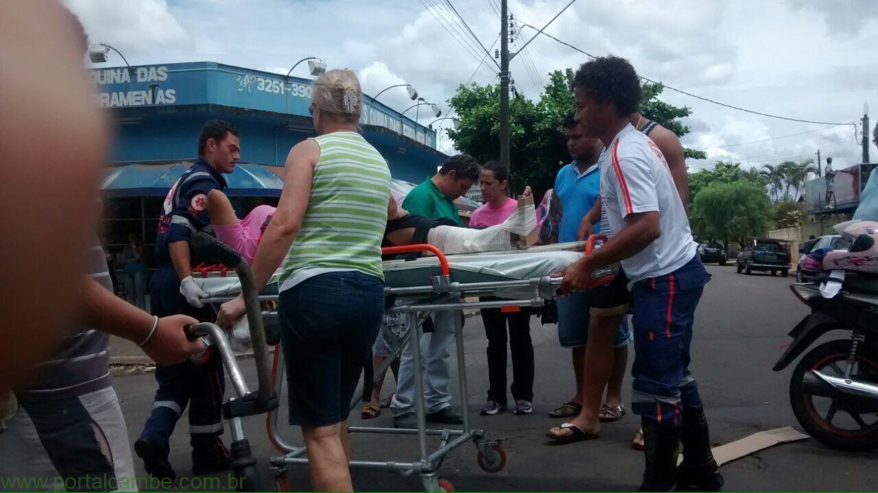 Colisão Auto x Moto deixa jovem ferida no Jardim Novo Bandeirantes