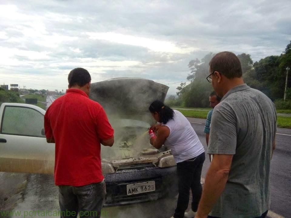 Extintor ABC é usado para apagar incêndio em veículo, entre Rolândia e Cambé