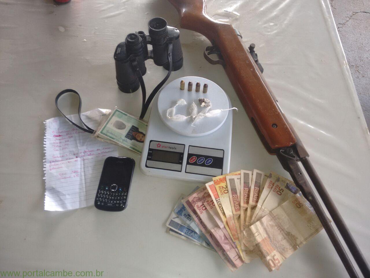 Policia Militar apreende drogas e arma no Jardim Josiane em Cambé