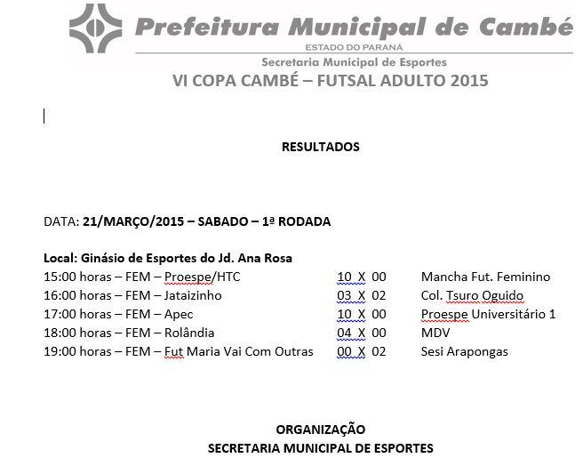 Confira a programação da 2ª e 3ª rodada da Copa Cambé de Futsal Adulto Feminino e os resultados