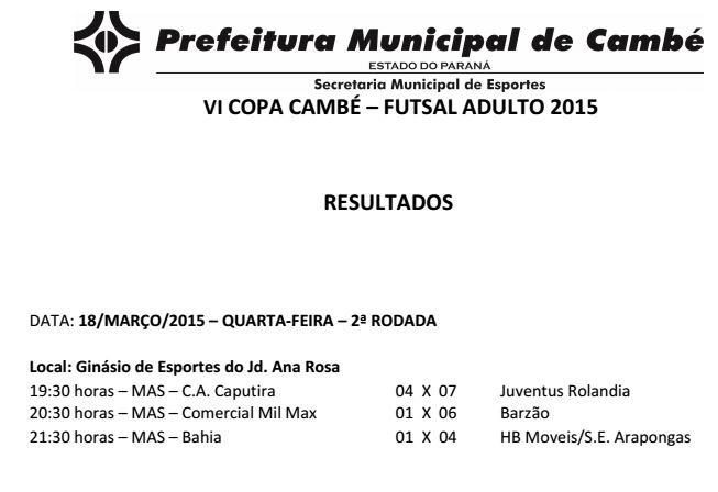 Resultados: Copa Cambé de Futsal Adulto 2015