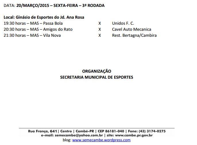 VI Copa Cambé de Futsal Adulto 2015