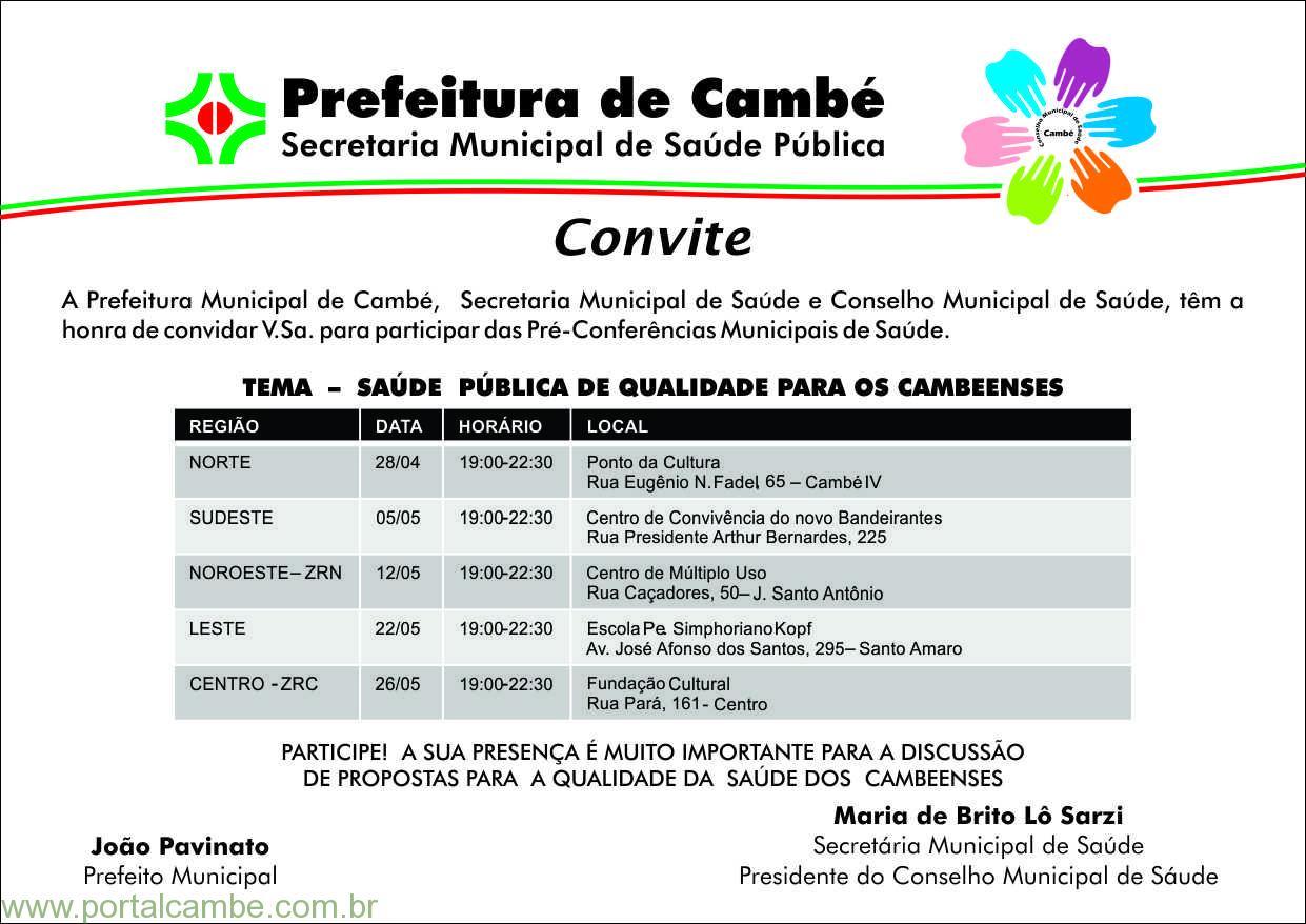 Participe das Pré-conferências e da XI Conferência Municipal de Saúde de Cambé