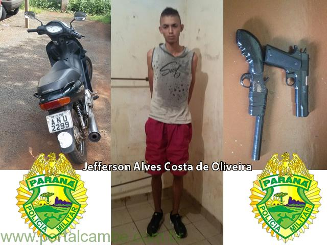 Polícia Militar de Cambé prende suspeito de roubo, recupera motocicleta e apreende menor foragido.