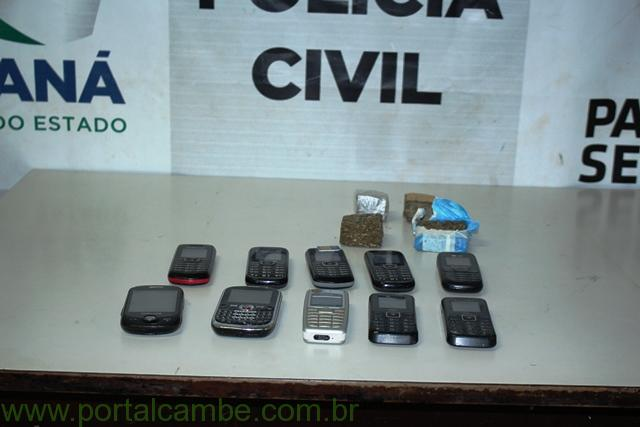 Polícia Civil de Cambé intercepta drogas e celulares arremessados para dentro da carceragem