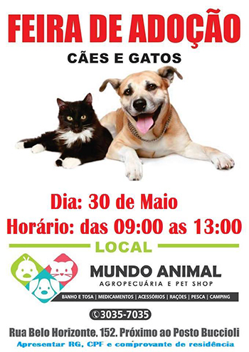 Tem Feira de Adoção de Animais neste sábado, dia 30