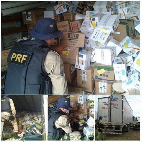 PRF retém caminhão que transportava produtos perigosos junto com alimentos e remédios