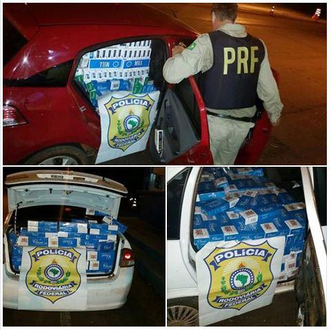 PRF apreende dois automóveis com 20 mil maços de cigarro