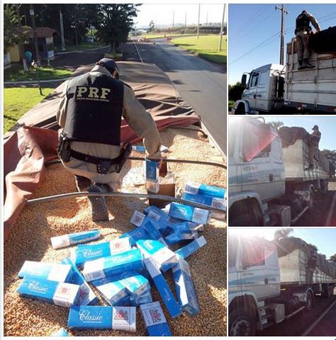 PRF prende caminhoneiro com 350 mil maços de cigarro contrabandeado