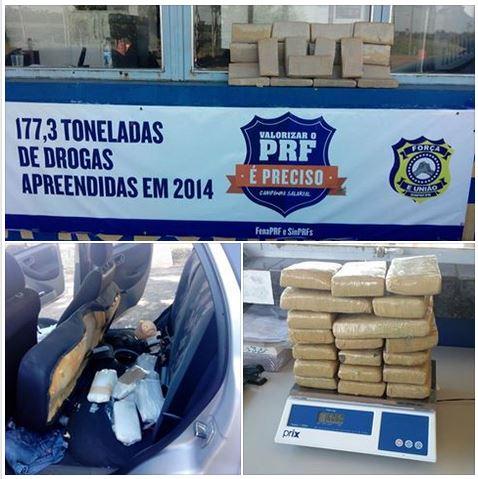PRF descobre 16 quilos de maconha em tanque de combustível; aniversariante do dia, motorista foi preso por tráfico