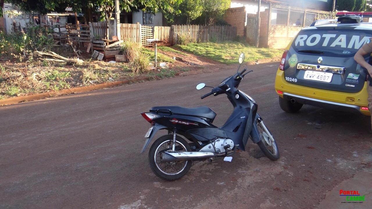 Polícia Militar recupera moto furtada no Jardim Vitória em Cambé