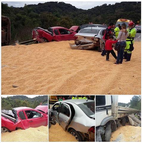 Três acidentes consecutivos envolvem onze veículos na BR 376 em Tijucas do Sul (PR); ninguém se feriu