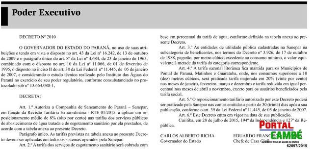 Governador Beto Richa autoriza Sanepar a reajustar em 8% as tarifas de água e esgoto