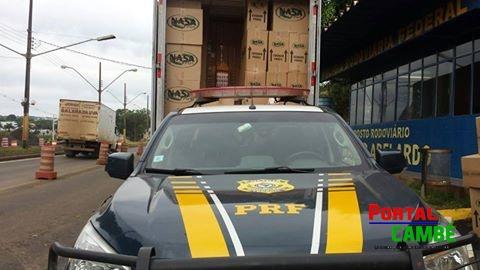 PRF apreende 350 mil maços de cigarro contrabandeado em Marialva
