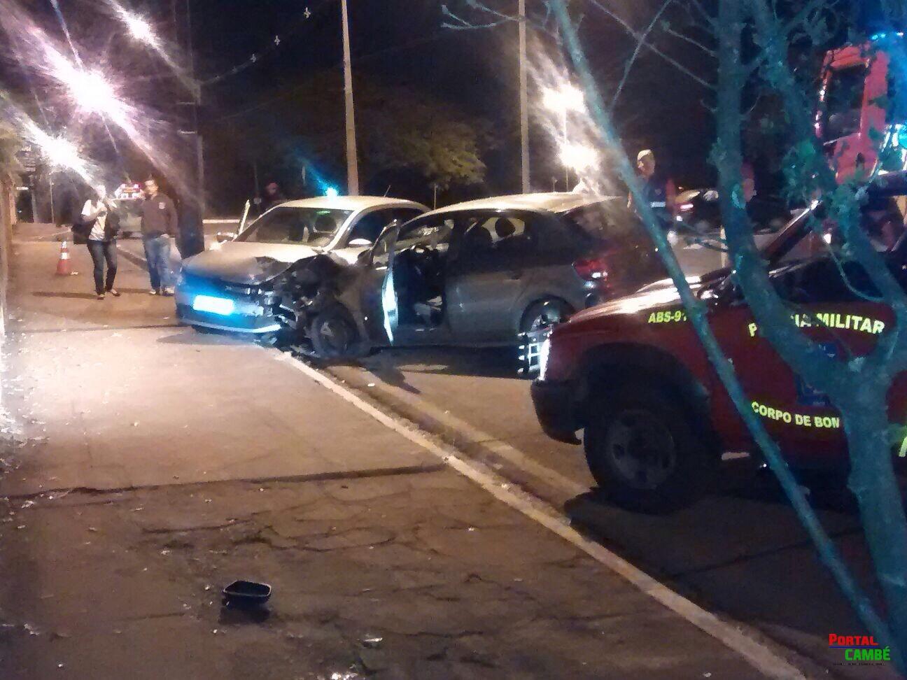 Acidente no Centro de Cambé deixa três pessoas feridas